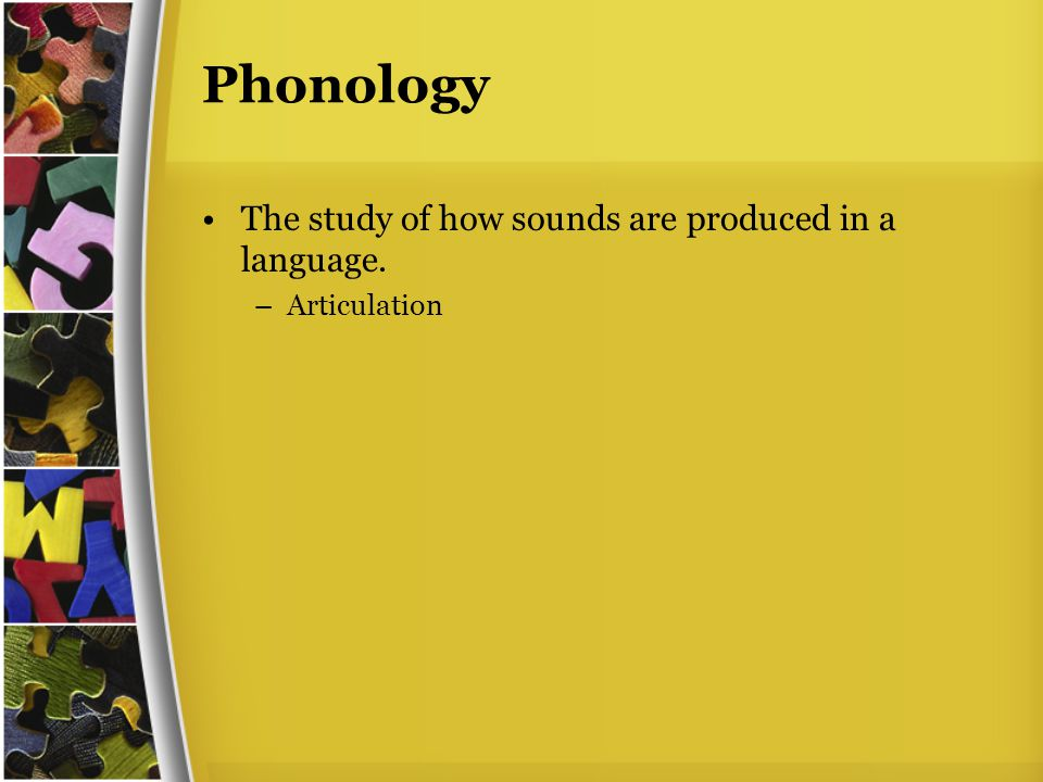 Phonology The study of how sounds are produced in a language. –Articulation