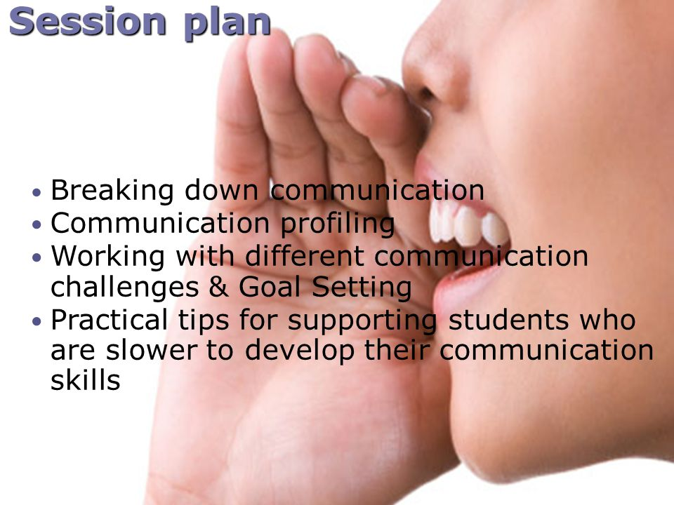 Session plan Breaking down communication Communication profiling Working with different communication challenges & Goal Setting Practical tips for supporting students who are slower to develop their communication skills