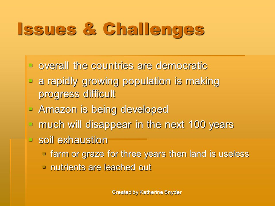 Created by Katherine Snyder Issues & Challenges  overall the countries are democratic  a rapidly growing population is making progress difficult  A