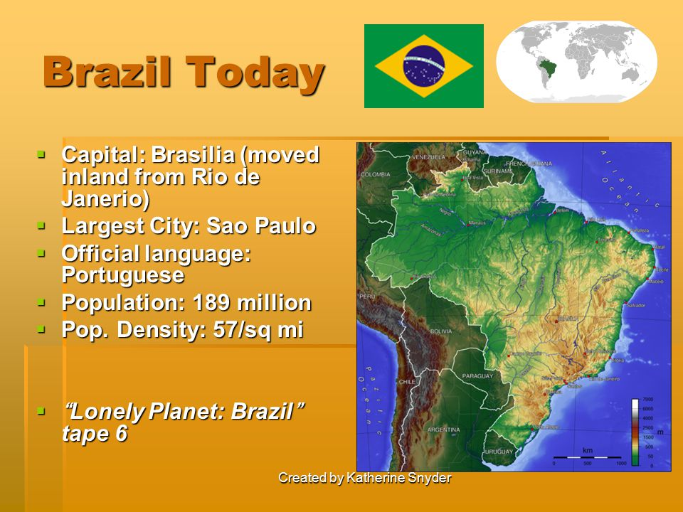 Created by Katherine Snyder Brazil Today  Capital: Brasilia (moved inland from Rio de Janerio)  Largest City: Sao Paulo  Official language: Portugu