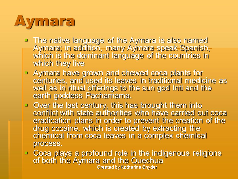 Created by Katherine Snyder Aymara  The native language of the Aymara is also named Aymara; in addition, many Aymara speak Spanish, which is the dominant language of the countries in which they live  Aymara have grown and chewed coca plants for centuries, and used its leaves in traditional medicine as well as in ritual offerings to the sun god Inti and the earth goddess Pachamama.