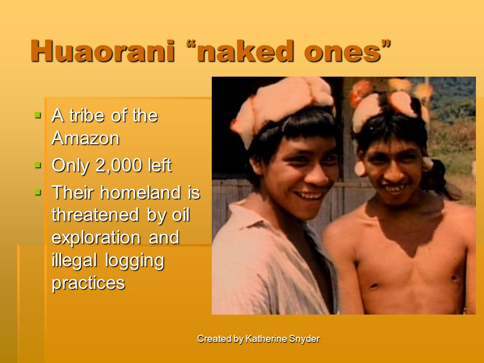 """Created by Katherine Snyder Huaorani """" naked ones """"  A tribe of the Amazon  Only 2,000 left  Their homeland is threatened by oil exploration and il"""