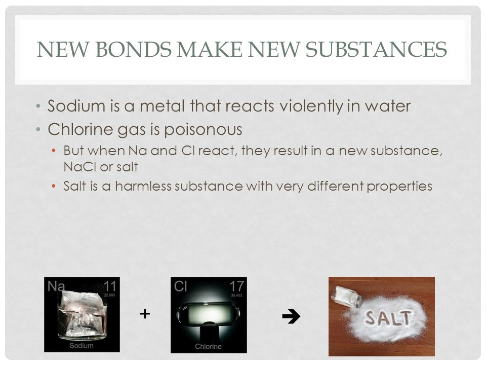 NEW BONDS MAKE NEW SUBSTANCES Sodium is a metal that reacts violently in water Chlorine gas is poisonous But when Na and Cl react, they result in a ne