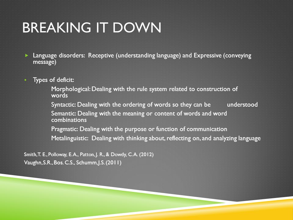 BREAKING IT DOWN  Language disorders cont.:  Types of Language disorders: No Verbal Language: No indication of understanding or spontaneously using language by age 3 Quantitatively Different Language: Language is different from that of nondisabled Delayed Language Development: Language follows normal course of development but is seriously behind others of same age Interrupted Language Development: Normal language development begins but is interrupted by some trauma, injury, or illness Smith, T.