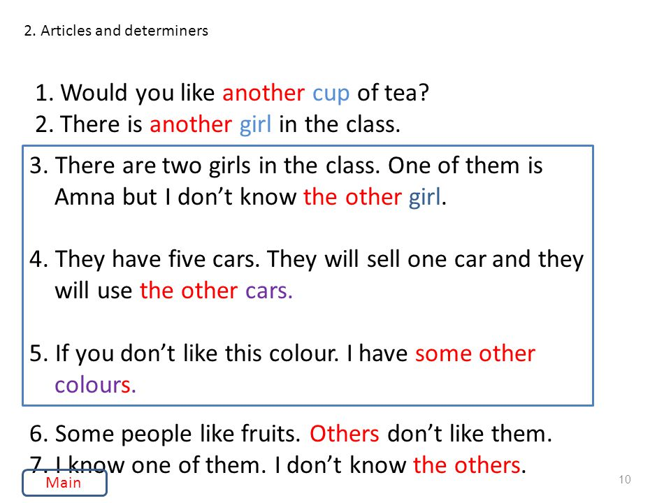 2. Articles and determiners 1.Would you like another cup of tea.