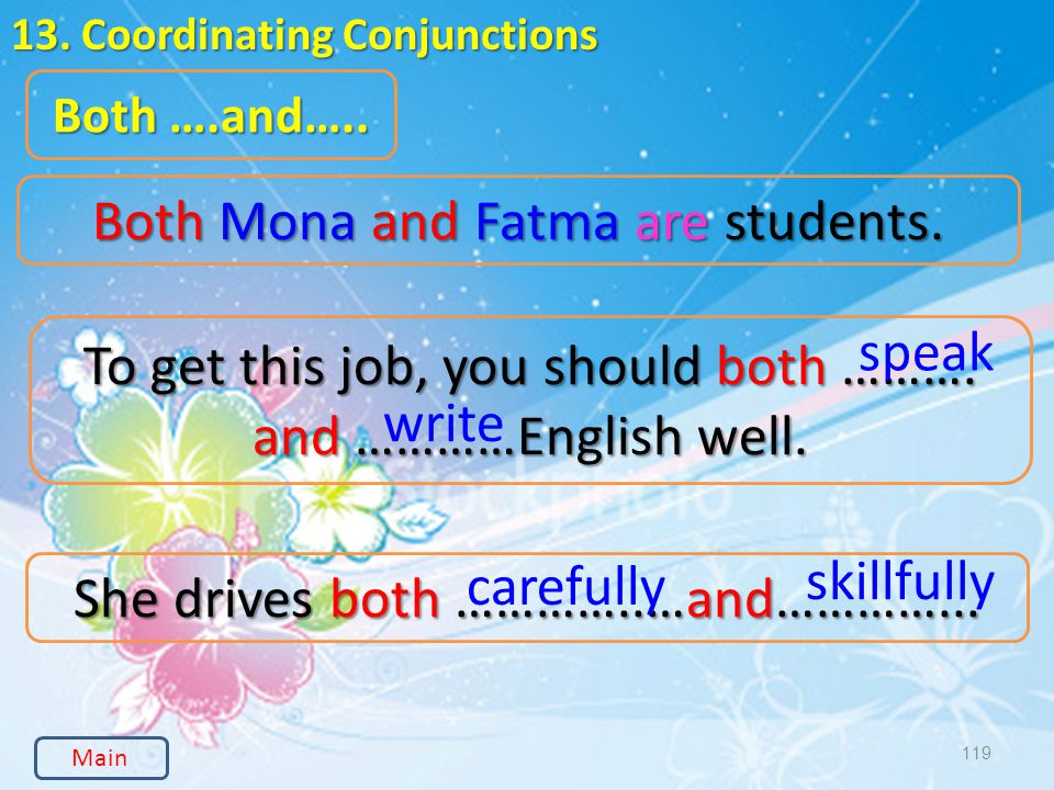 119 13. Coordinating Conjunctions Both ….and….. Both Mona and Fatma are students.