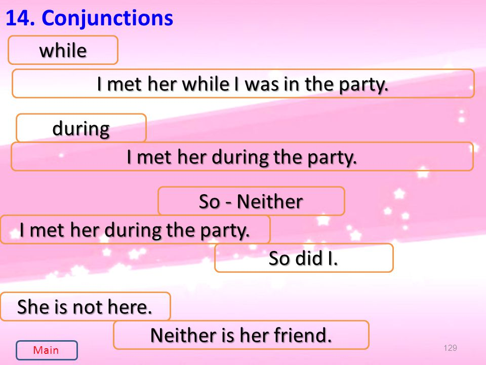 129 14. Conjunctionswhile I met her while I was in the party.