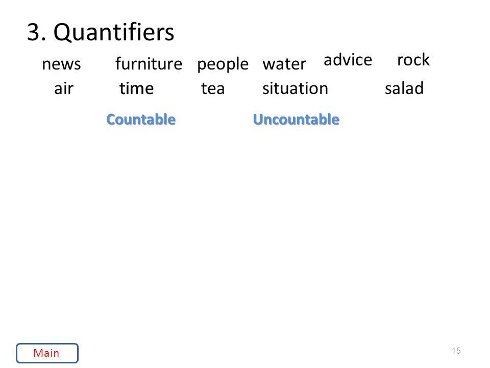 3. Quantifiers UncountableCountable newsfurniturepeoplewater advicerock airtimeteasituation 15 saladtime Main