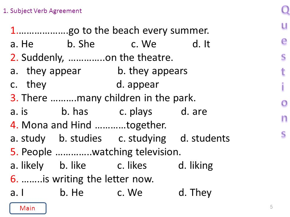 1. Subject Verb Agreement 1.……………….go to the beach every summer.