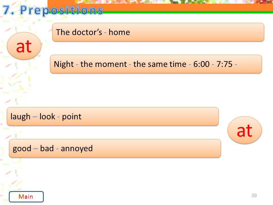 59 at The doctor's - home Night - the moment - the same time - 6:00 - 7:75 - laugh – look - point good – bad - annoyed Main at