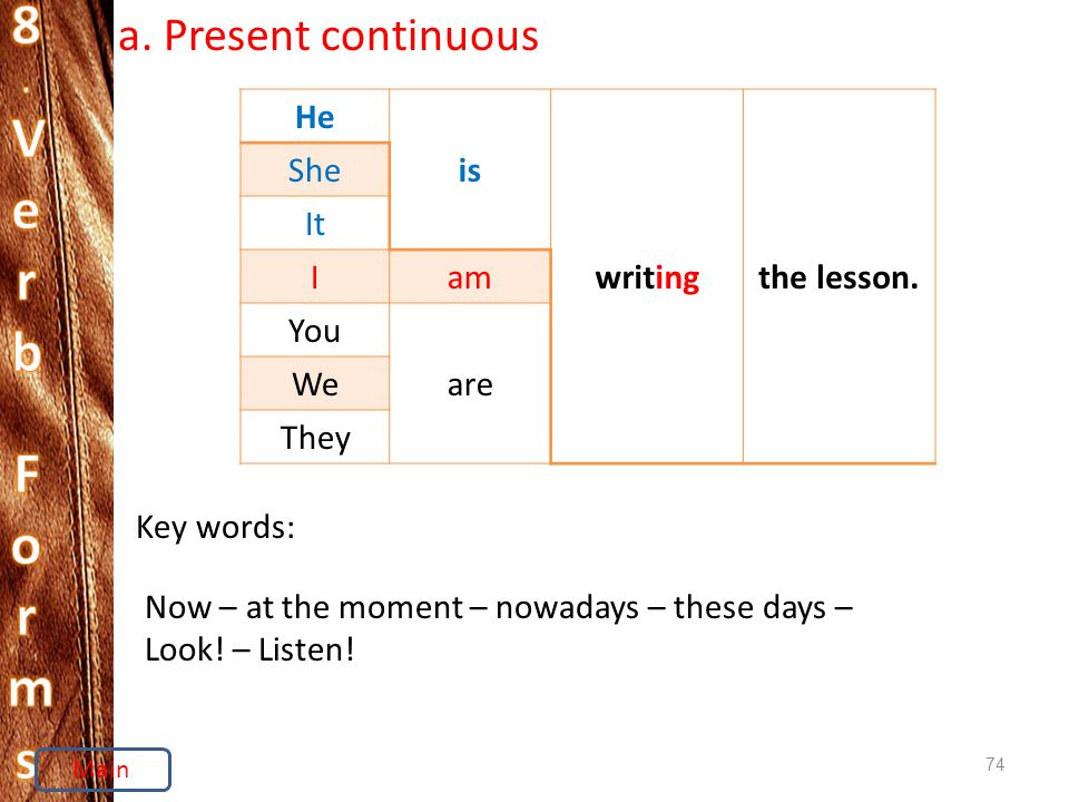 74 a. Present continuous He is writingthe lesson.