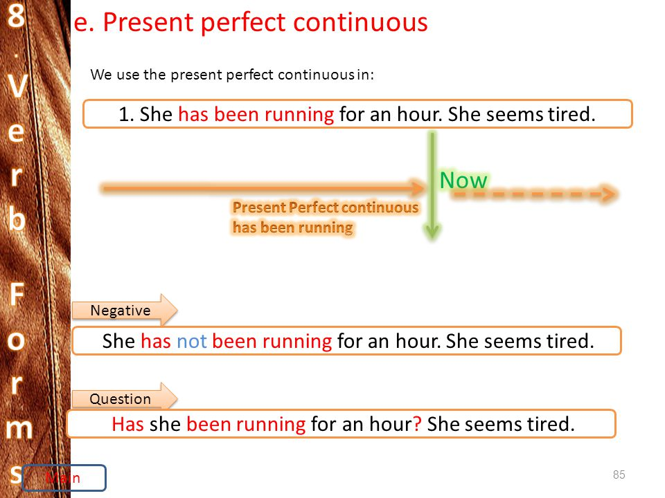 85 e. Present perfect continuous We use the present perfect continuous in: 1.