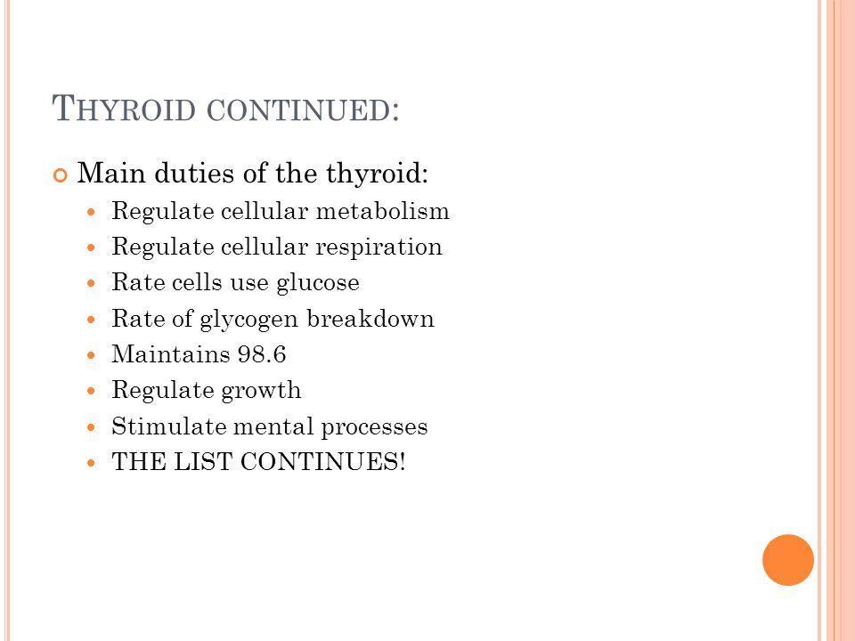 T HYROID CONTINUED : Main duties of the thyroid: Regulate cellular metabolism Regulate cellular respiration Rate cells use glucose Rate of glycogen breakdown Maintains 98.6 Regulate growth Stimulate mental processes THE LIST CONTINUES!