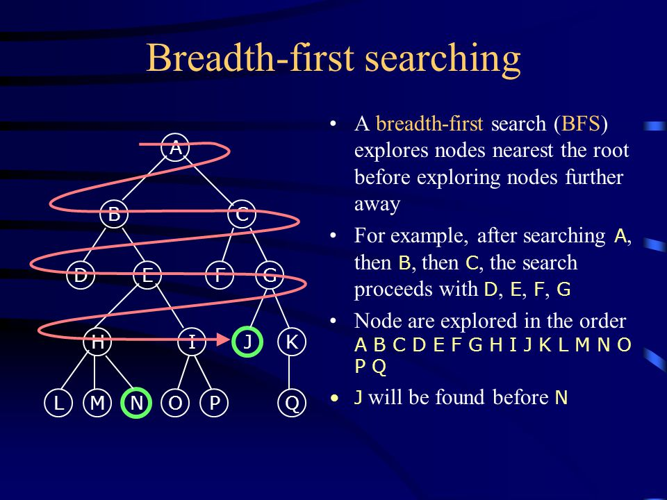 Breadth-first searching A breadth-first search (BFS) explores nodes nearest the root before exploring nodes further away For example, after searching