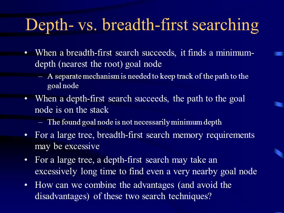 Depth-limited searching Depth-first searches may be performed with a depth limit: boolean limitedDFS(Node node, int limit, int depth) { if (depth > limit) return failure; if (node is a goal node) return success; for each child of node { if (limitedDFS(child, limit, depth + 1)) return success; } return failure; } Since this method is basically DFS, if it succeeds then the path to a goal node is in the stack