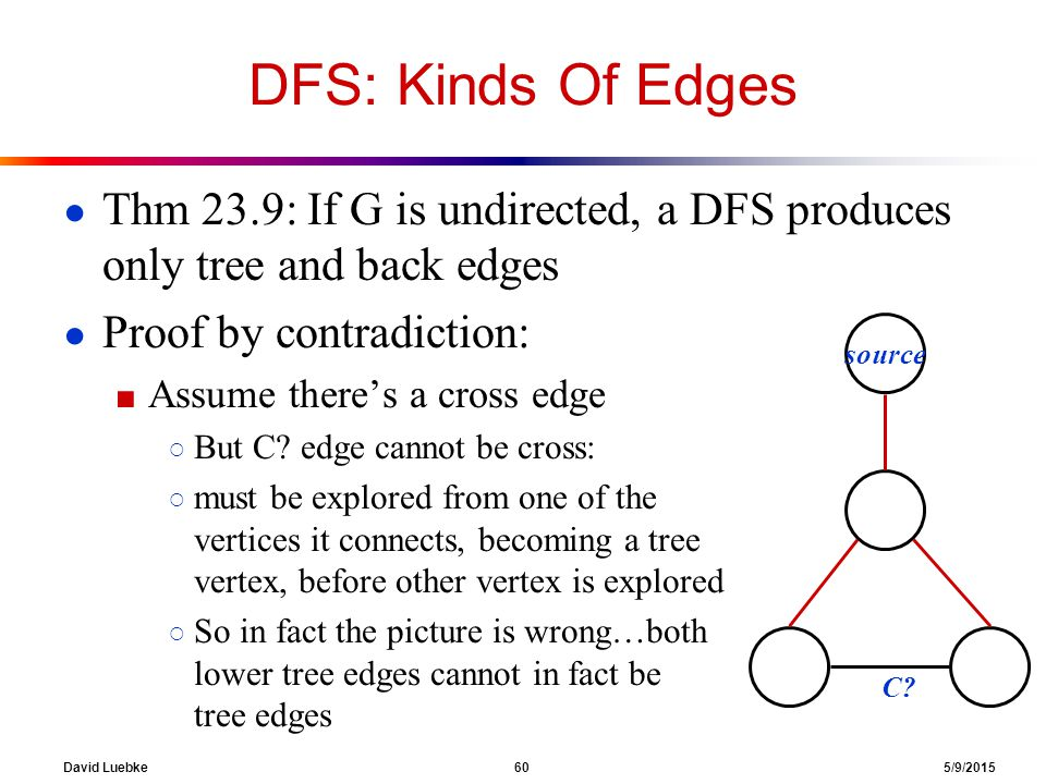 David Luebke 60 5/9/2015 DFS: Kinds Of Edges ● Thm 23.9: If G is undirected, a DFS produces only tree and back edges ● Proof by contradiction: ■ Assume there's a cross edge ○ But C.