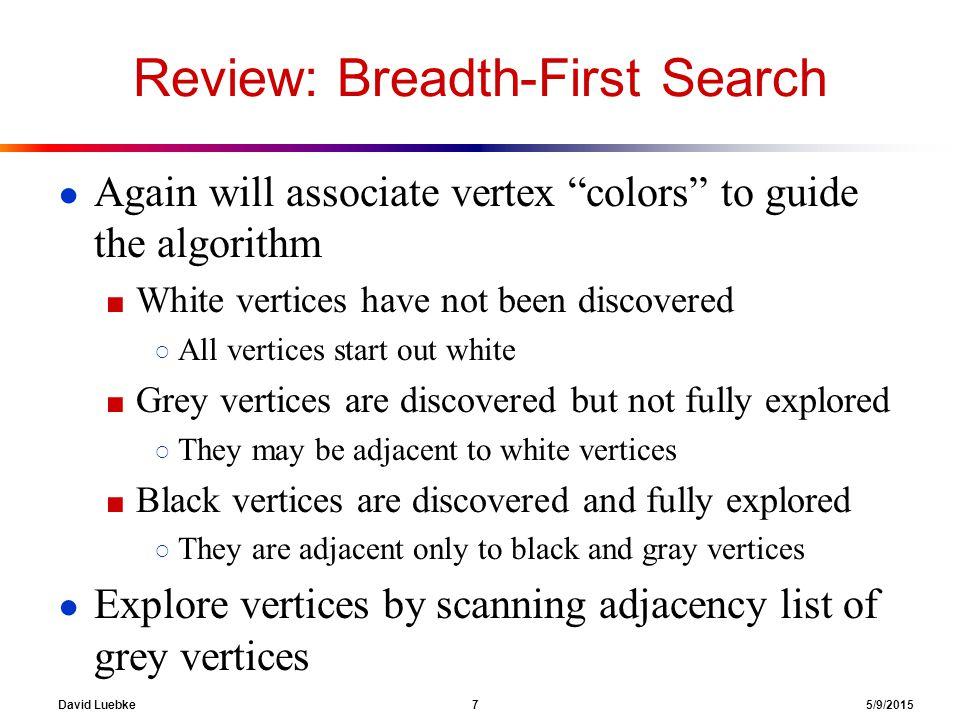 David Luebke 18 5/9/2015 Breadth-First Search: Example 1 2 0 1 2 2 3 3 rstu vwxy Q: Ø