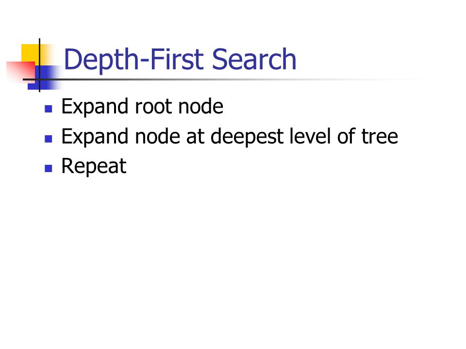 Depth-First Search Expand root node Expand node at deepest level of tree Repeat
