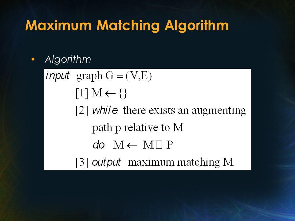 Maximum Matching Algorithm Algorithm