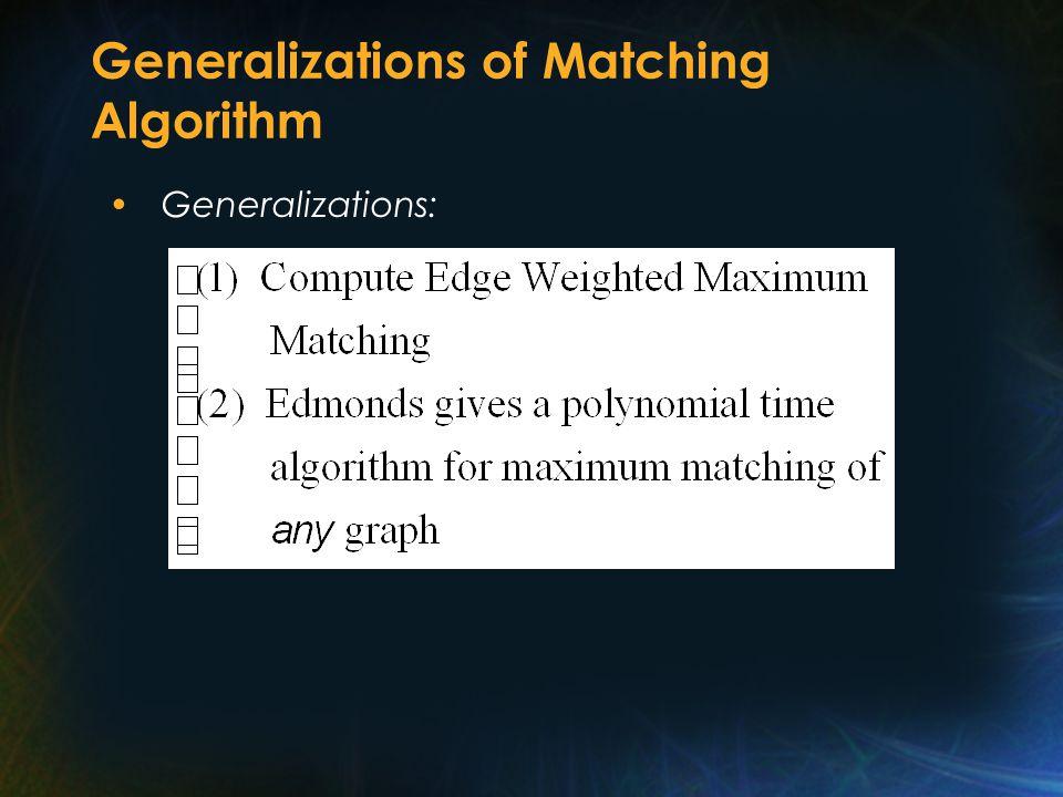 Generalizations of Matching Algorithm Generalizations: