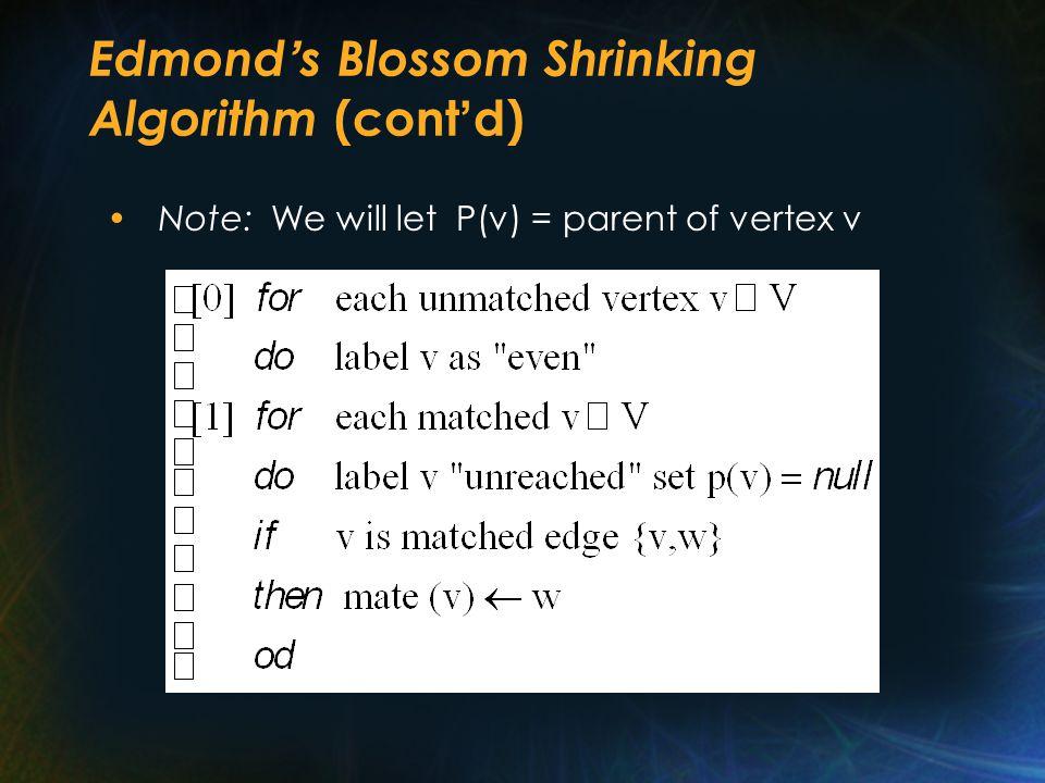 Edmond ' s Blossom Shrinking Algorithm (cont ' d) Note: We will let P(v) = parent of vertex v
