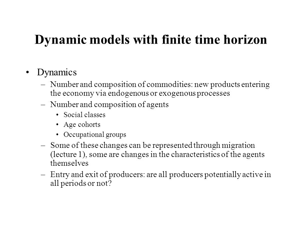 Dynamic models with finite time horizon Dynamics –Number and composition of commodities: new products entering the economy via endogenous or exogenous