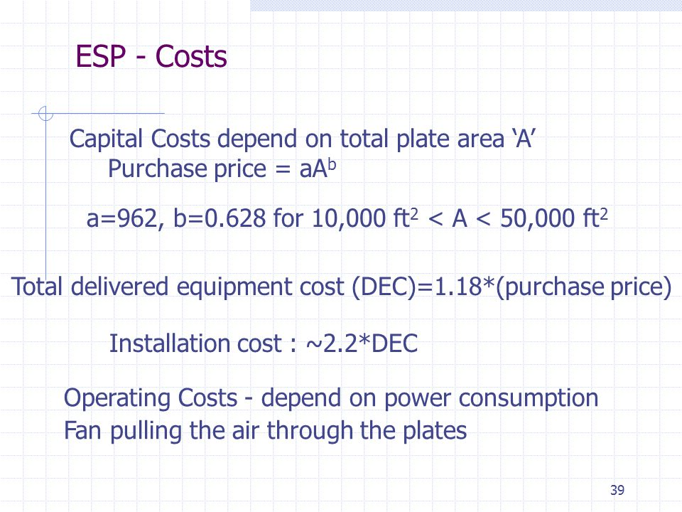 39 Capital Costs depend on total plate area 'A' Purchase price = aA b a=962, b=0.628 for 10,000 ft 2 < A < 50,000 ft 2 Installation cost : ~2.2*DEC Op