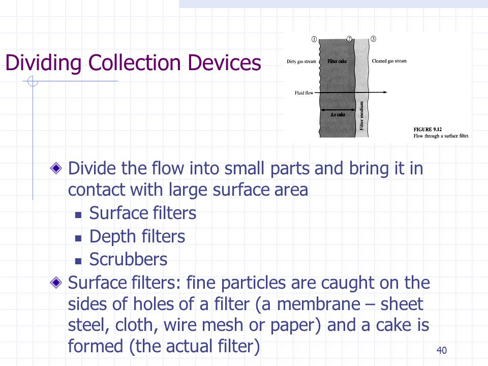 40 Dividing Collection Devices Divide the flow into small parts and bring it in contact with large surface area Surface filters Depth filters Scrubber