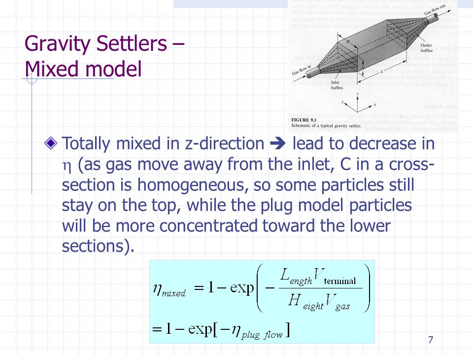 7 Gravity Settlers – Mixed model Totally mixed in z-direction  lead to decrease in  (as gas move away from the inlet, C in a cross- section is homog
