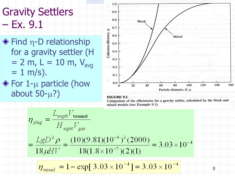 8 Gravity Settlers – Ex. 9.1 Find  -D relationship for a gravity settler (H = 2 m, L = 10 m, V avg = 1 m/s). For 1-  particle (how about 50-  ?)