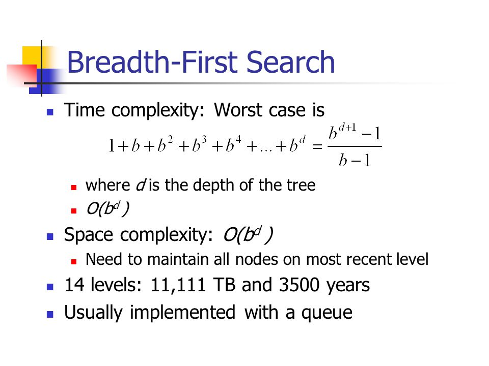 Breadth-First Search Time complexity: Worst case is where d is the depth of the tree O(b d ) Space complexity: O(b d ) Need to maintain all nodes on m