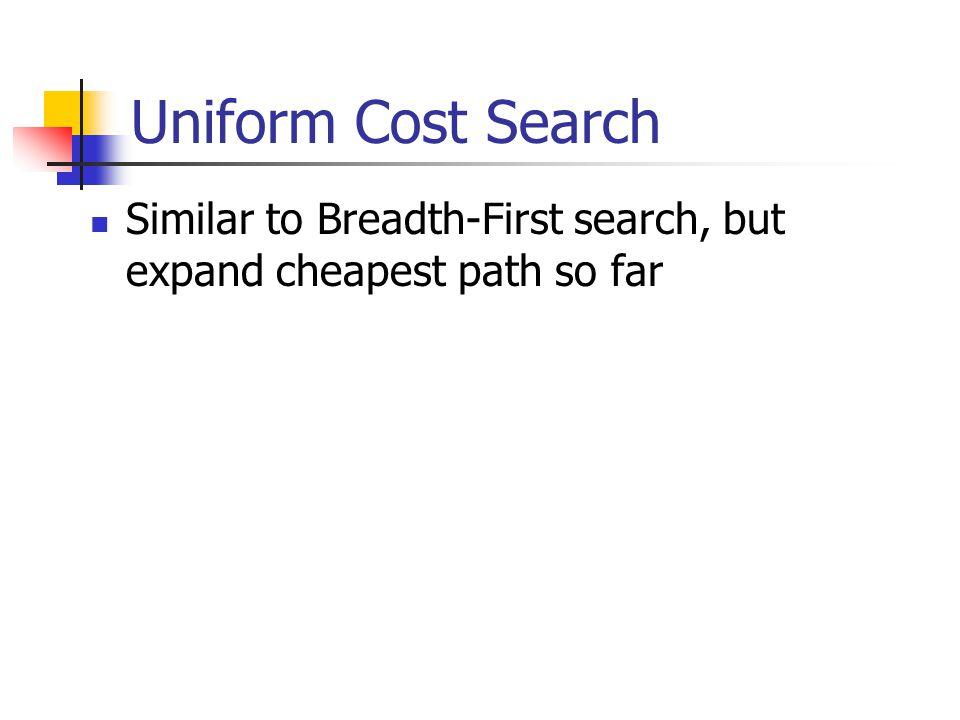Uniform Cost Search Similar to Breadth-First search, but expand cheapest path so far