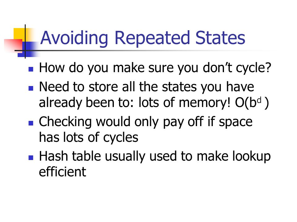 Avoiding Repeated States How do you make sure you don't cycle? Need to store all the states you have already been to: lots of memory! O(b d ) Checking