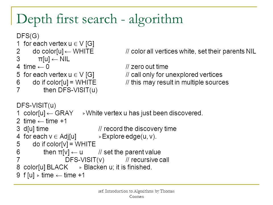 ref. Introduction to Algorithms by Thomas Cormen Depth first search - algorithm DFS(G) 1 for each vertex u ∈ V [G] 2 do color[u] ← WHITE// color all v