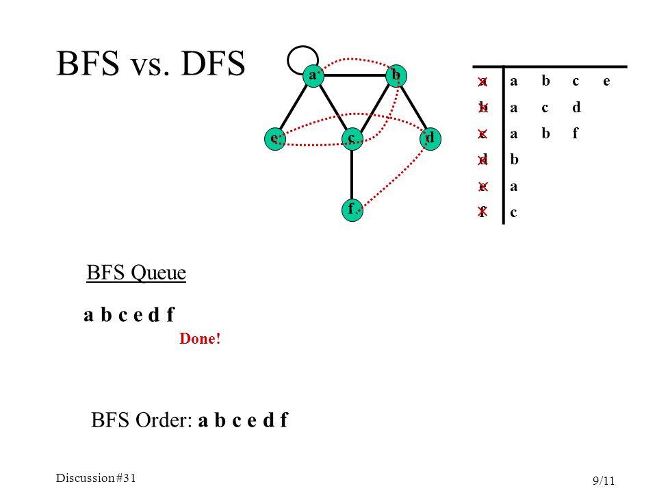 Discussion #31 9/11 BFS vs.