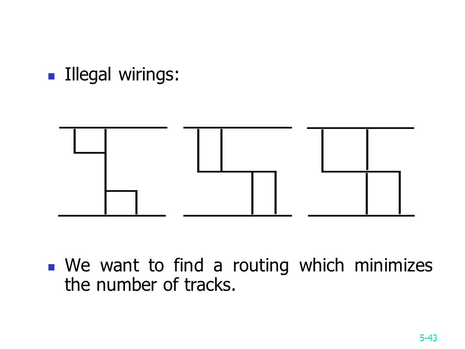 5-43 Illegal wirings: We want to find a routing which minimizes the number of tracks.
