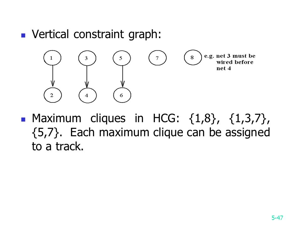 5-47 Vertical constraint graph: Maximum cliques in HCG: {1,8}, {1,3,7}, {5,7}.