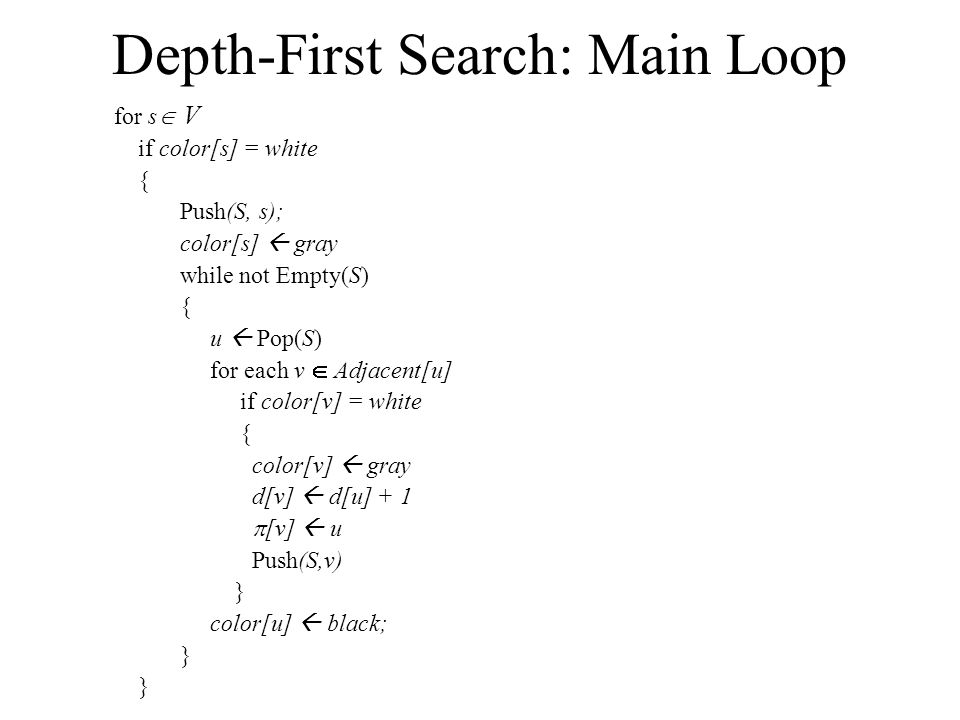 Depth-First Search: Main Loop for s  V if color[s] = white { Push(S, s); color[s]  gray while not Empty(S) { u  Pop(S) for each v  Adjacent[u] if color[v] = white { color[v]  gray d[v]  d[u] + 1  [v]  u Push(S,v) } color[u]  black; }