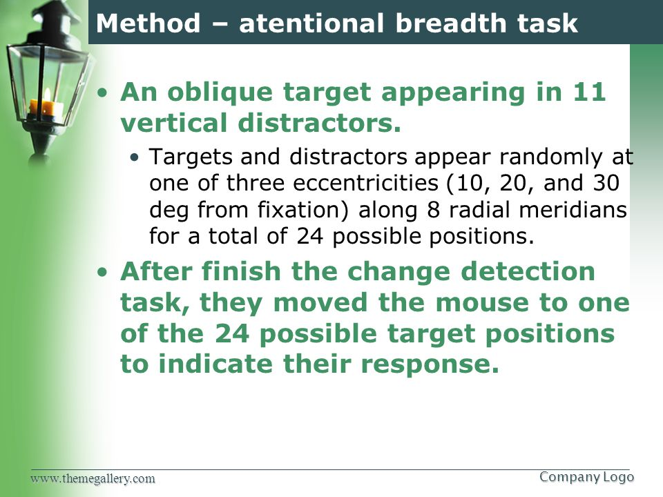 www.themegallery.comCompany Logo Method – atentional breadth task An oblique target appearing in 11 vertical distractors.