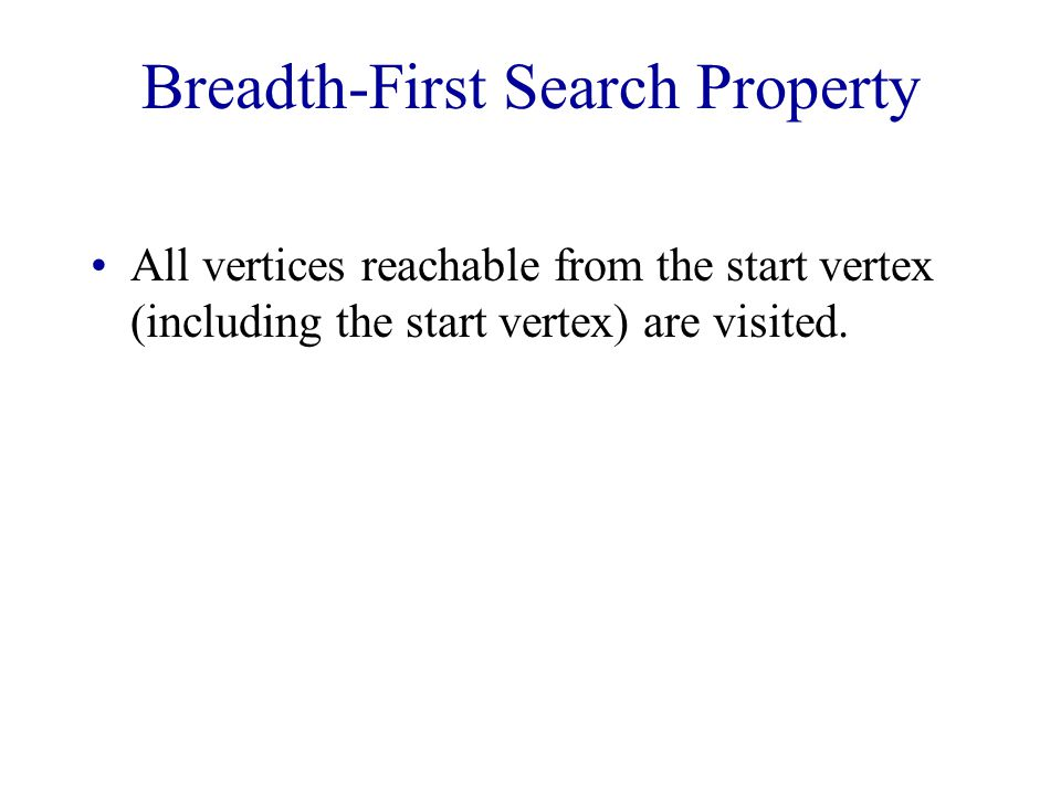 Breadth-First Search Property All vertices reachable from the start vertex (including the start vertex) are visited.