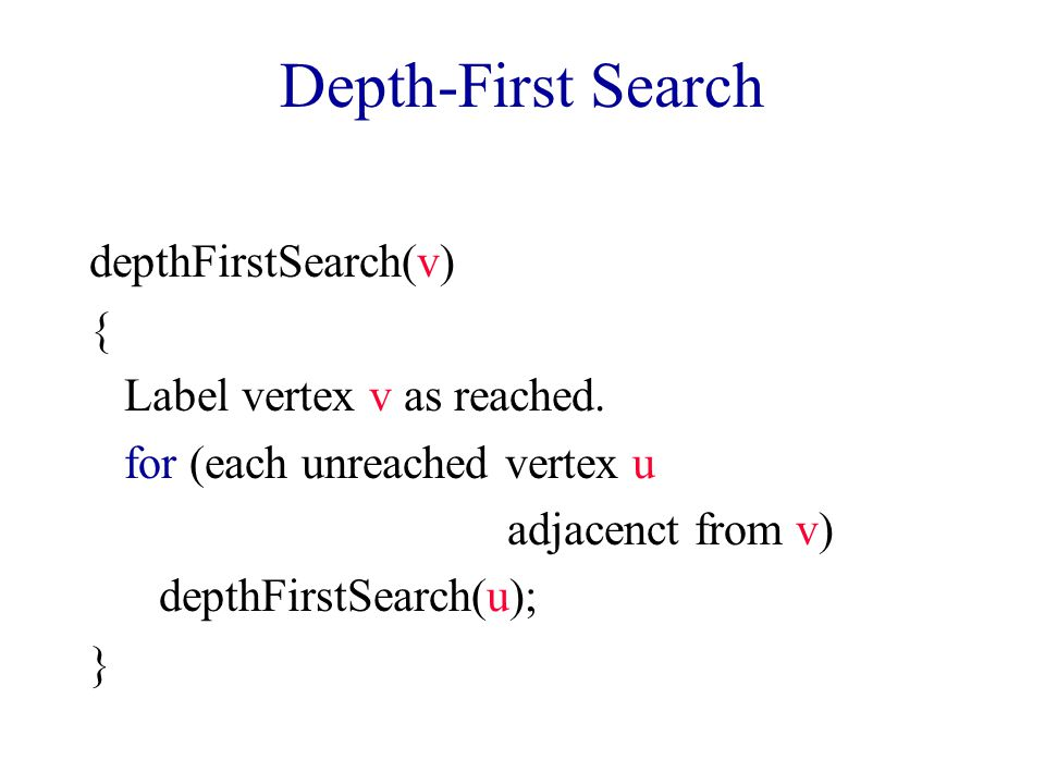 Depth-First Search depthFirstSearch(v) { Label vertex v as reached.