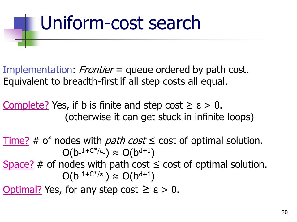 20 Uniform-cost search Implementation: Frontier = queue ordered by path cost.