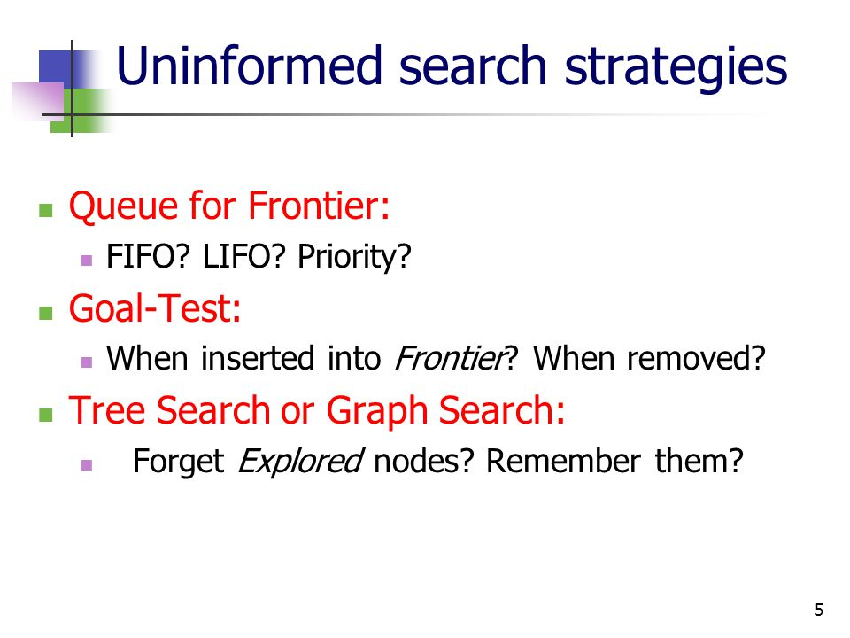 5 Uninformed search strategies Queue for Frontier: FIFO? LIFO? Priority? Goal-Test: When inserted into Frontier? When removed? Tree Search or Graph Se