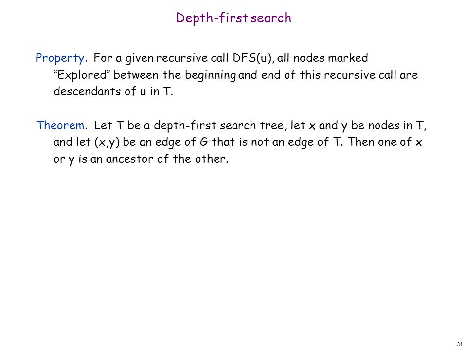 Depth-first search Property.