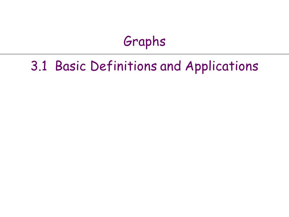 Graphs 3.1 Basic Definitions and Applications