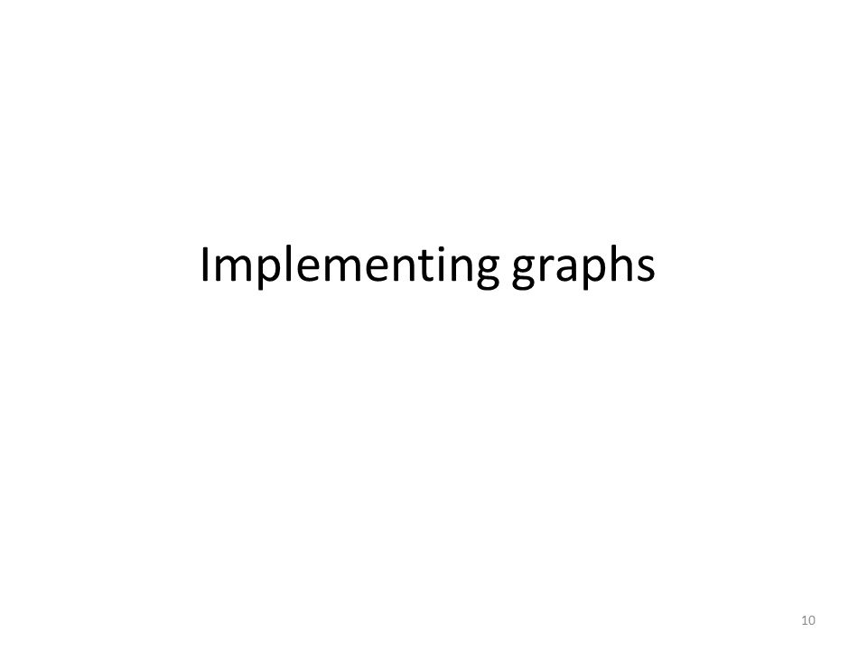 Implementing graphs 10