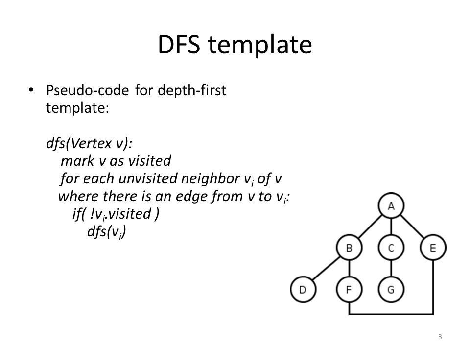 DFS template Pseudo-code for depth-first template: dfs(Vertex v): mark v as visited for each unvisited neighbor v i of v where there is an edge from v
