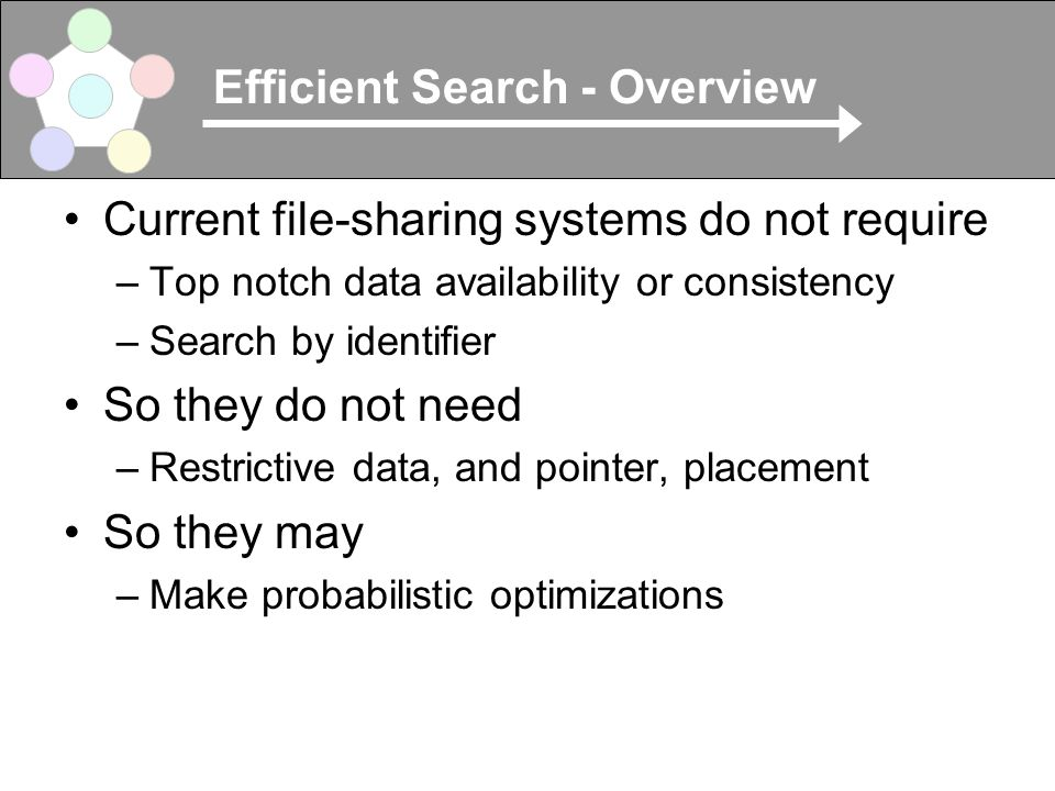Efficient Search - Overview Current file-sharing systems do not require –Top notch data availability or consistency –Search by identifier So they do not need –Restrictive data, and pointer, placement So they may –Make probabilistic optimizations