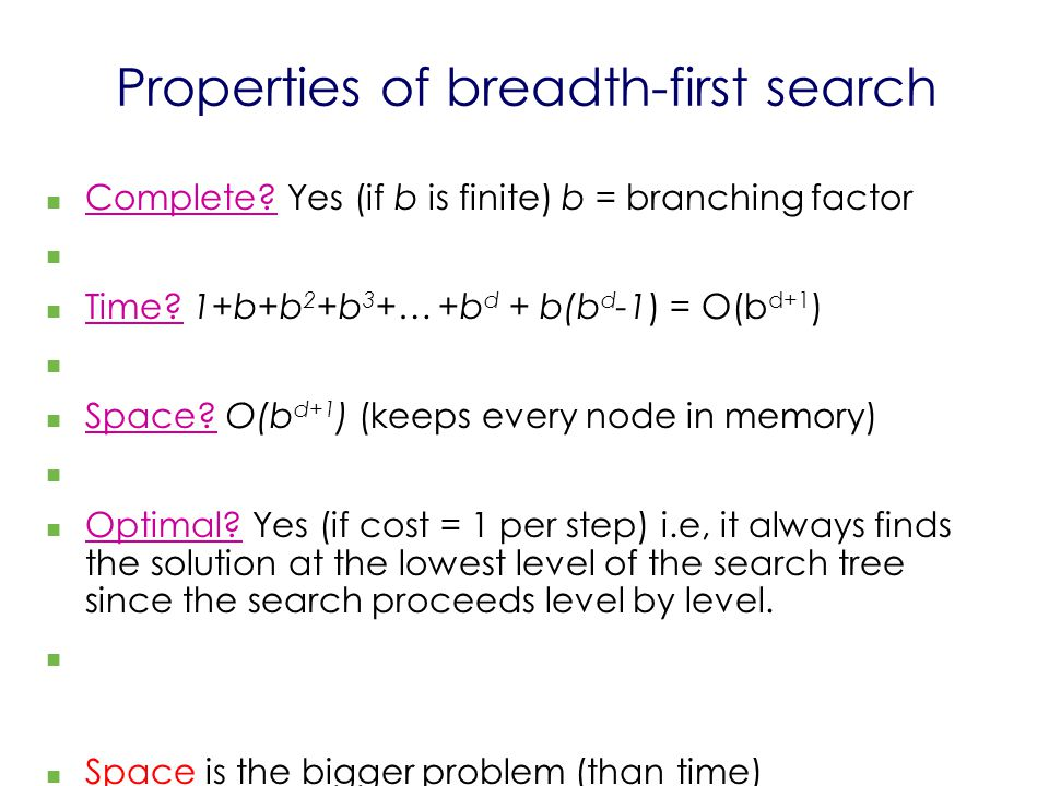 Properties of breadth-first search Complete? Yes (if b is finite) b = branching factor Time? 1+b+b 2 +b 3 +… +b d + b(b d -1) = O(b d+1 ) Space? O(b d