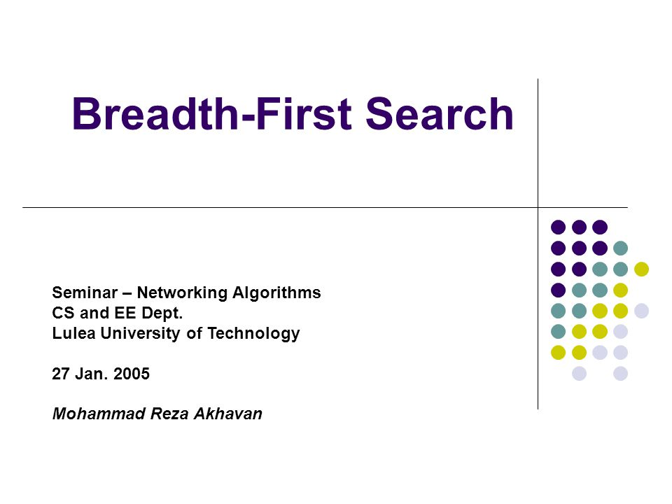 Breadth-First Search Seminar – Networking Algorithms CS and EE Dept.
